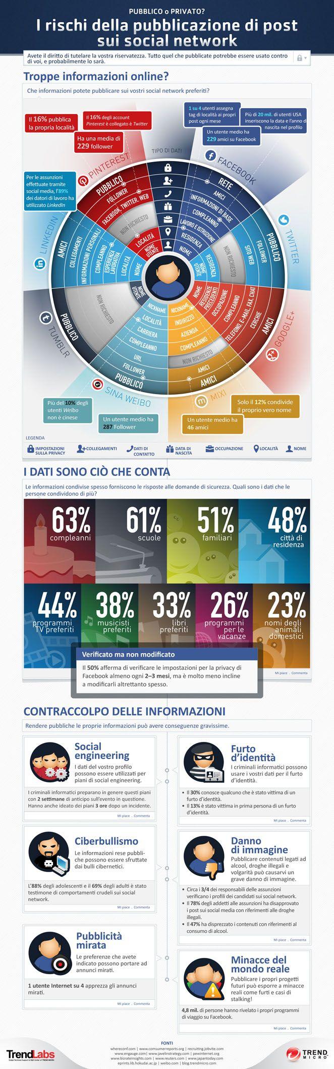 I rischi della pubblicazione di post sui social-network: Social Network, Media Infographic