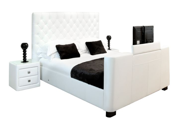 """The highly compact Los Angeles TV Bed featuring luxurious full leather the bed includes a whisper quiet motorised TV lift, the latest 32"""" SamsungHD ready LED television with built in digital freeview tuner, wooden sprung base and a generous compartment..."""