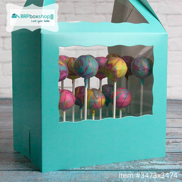 Tie-Dye cake pops in BRP Box Shop Cake Pop Boxes. #cakepopstand #cakepopbox #cakepop #tiedye #peace #loveyourboxes #brpboxshop #packaging #partyfavors #desserttable