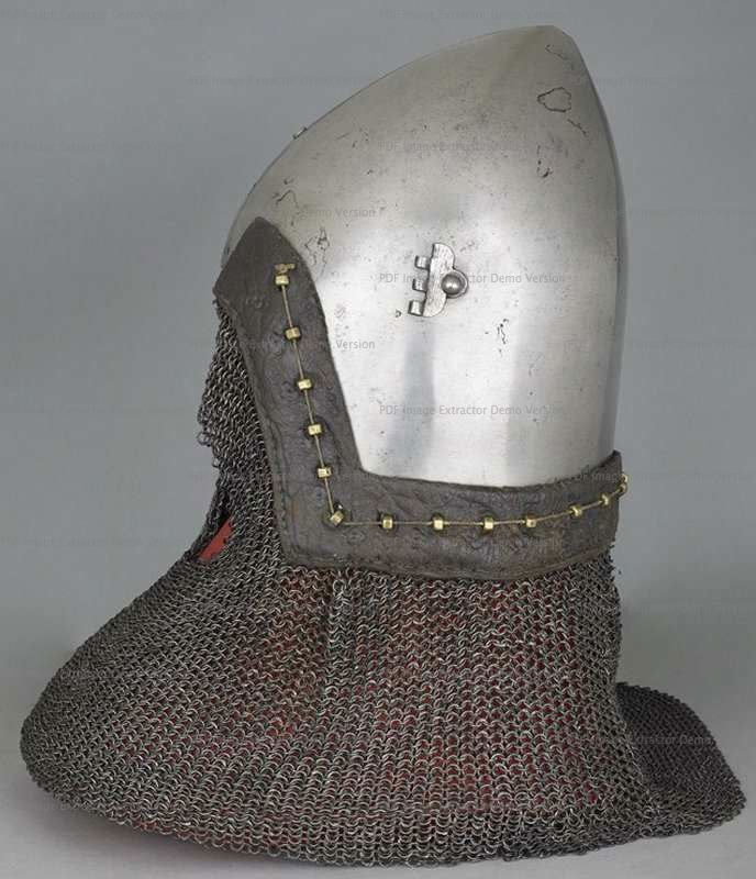 Bascinet with Aventail, Wallace Collection, London  1360-1380 ref_arm_1594_012 Composite helmet, as it can be seen that originally the skull had a center hinged visor. The aventail also is a mix of various patches of mail put together in the early XX century, as are the vervelles as well.