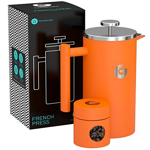 Large French Press Coffee Maker - Triple Filter, Vacuum Insulated Stainless Steel - With Mini Canister and eBook - By Coffee Gator - 34floz - Orange  Price: US $49.97 & FREE Shipping  #kitchen #love #home #lovedkitchen