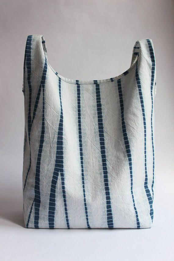 Stripes Shibori Plant Dyed Cotton Tote Bag Japanese Bag Handbag Indigo Blue