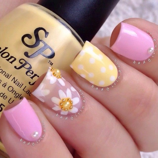 Nice Summer Nail Design! Polka-Dots & Flowers