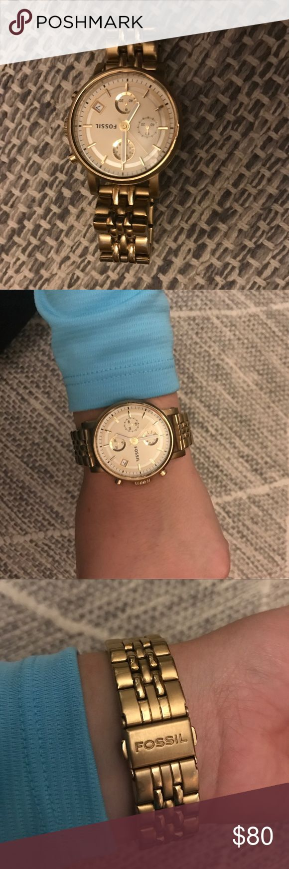 Gold-Tone Fossil Chronograph Watch Boyfriend fit gold tone watch from fossil. In good gently used condition- minor scuffs on inner wrist band. Works like new! Fossil Accessories Watches