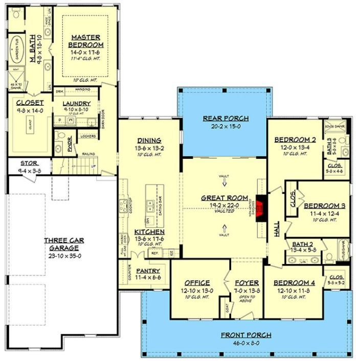 Plan 51784hz Fresh 4 Bedroom Farmhouse Plan With Bonus Room Above 3 Car Garage Bedroom House Plans 4 Bedroom House Plans New House Plans