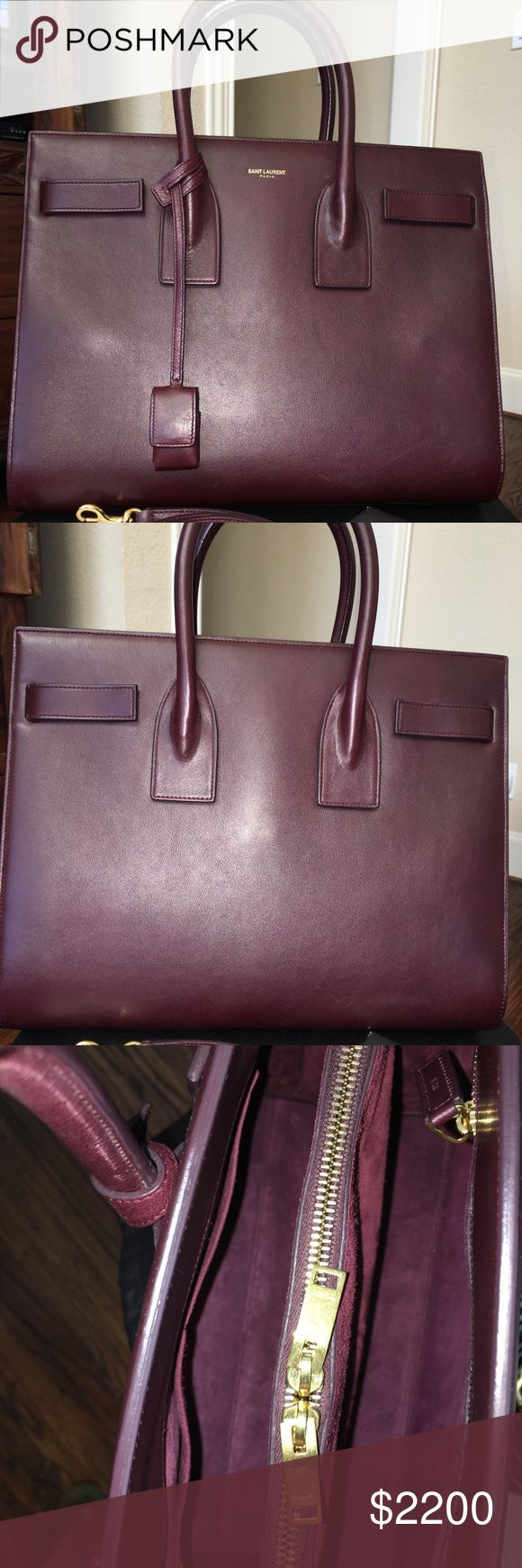 Yves Saint Laurent Sac De Jour Small in Amarena Up for sale this beautiful Saint Laurent Bag with little scratches as seen in pictures. No odor whatsoever, comes from a smoke-free environment! Yves Saint Laurent Bags Satchels