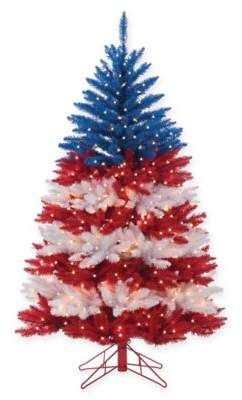bed bath beyond 5 foot pre lit patriotic american christmas tree with clear