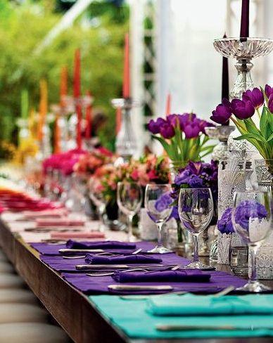 Rainbow tablescape #wedding #love #rainbowwedding #rainbow #ideas #motif #theme www.cvlinens.com for all linen needs