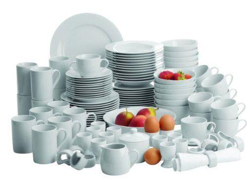 Domestic by Mäser, Super Kombiservice in weiss 112-teilig für 12 Personen, mehr als nur ein weisses Porzellanservice