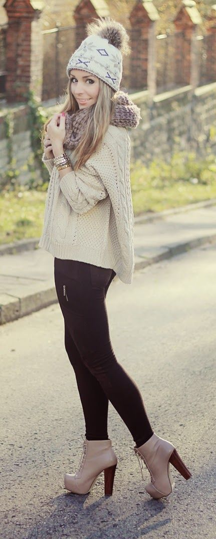Knit Scarf # Sweater & High Heels Booties. Omg she so pretty with her booties and her outfit.