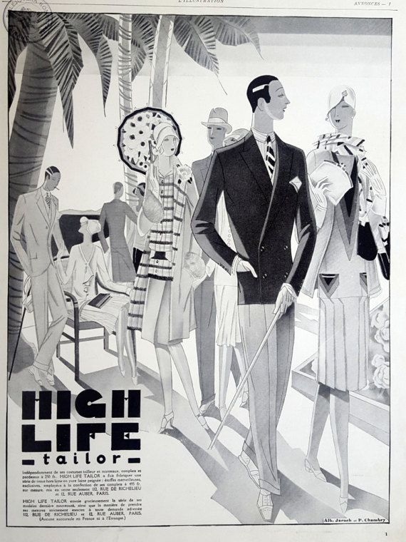 Fashion vintage advertising poster high life tailor ad by oldmag