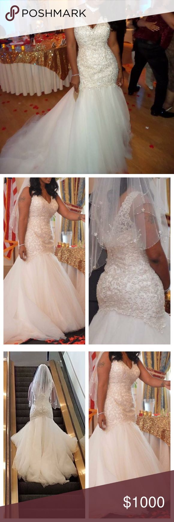 Allure Bridals Wedding Gown Size: 20 , waist altered to 30 inches ‼️‼️ bride stands at 5''10.5 inches. Bride is wearing flats in photos. Dress zips up back with buttons up back as well. Gown has not been cleaned, will require cleaning of train. This is perfect for a curvy bride with wide hips and small waist. Bride's bust is 36DDD. Style number is W377 if you want to google images. This is considered a full-figured/plus size gown. Allure Bridal Dresses Wedding