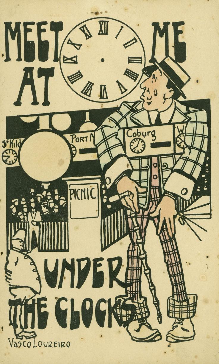 Postcard 1905 by Vasco Loureiro. Flinders St. Railway Station Melbourne Victoria Australia