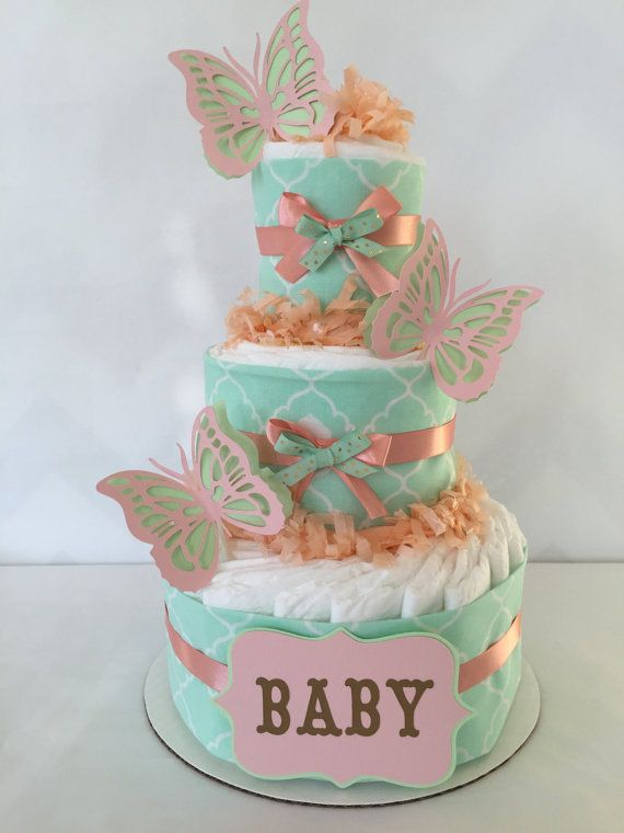 Mint and Coral Diaper Cake Butterfly Diaper Cake by AllDiaperCakes