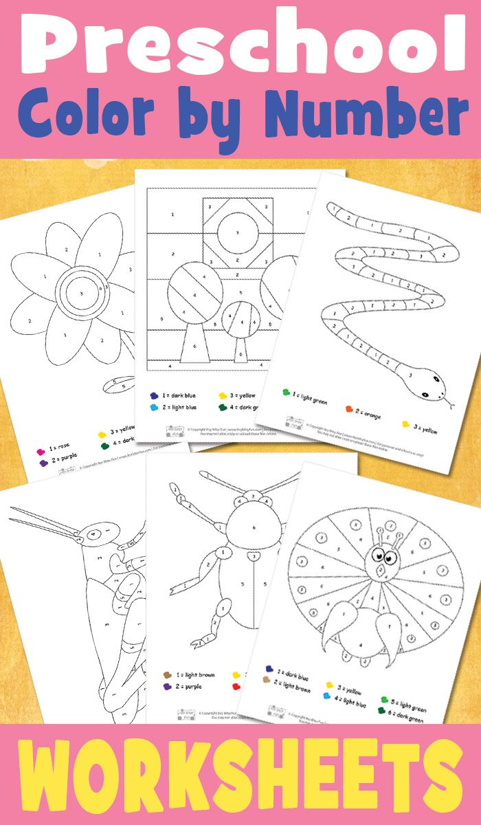 Unit study colors preschool - Preschool Color By Number Worksheets Preschool Printablespreschool Activitiesfree
