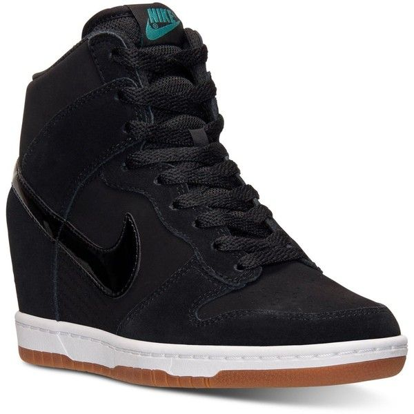 Nike Women's Dunk Sky Hi Essential Casual Sneakers from Finish Line ($85) ❤ liked on Polyvore featuring shoes, sneakers, nike footwear, nike shoes, high top shoes, hidden wedge heel sneakers and high top hidden wedge sneakers