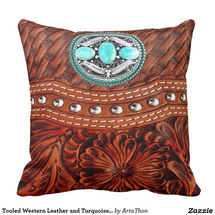 Western Throw Pillows For Couch : Western-Leather, Turquoise, Icon, Medallion Print Throw Pillow Westerns, Turquoise and Leather