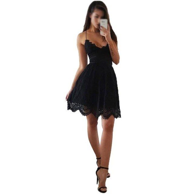 Spring summer dress women spaghetti strap sleeveless lace piecing solid color slim party club mini dress