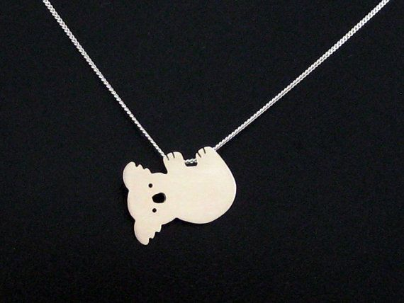 Silver Koala Necklace  Koala Bear Jewelry  Kawaii by OffbeatMelody, $43.00