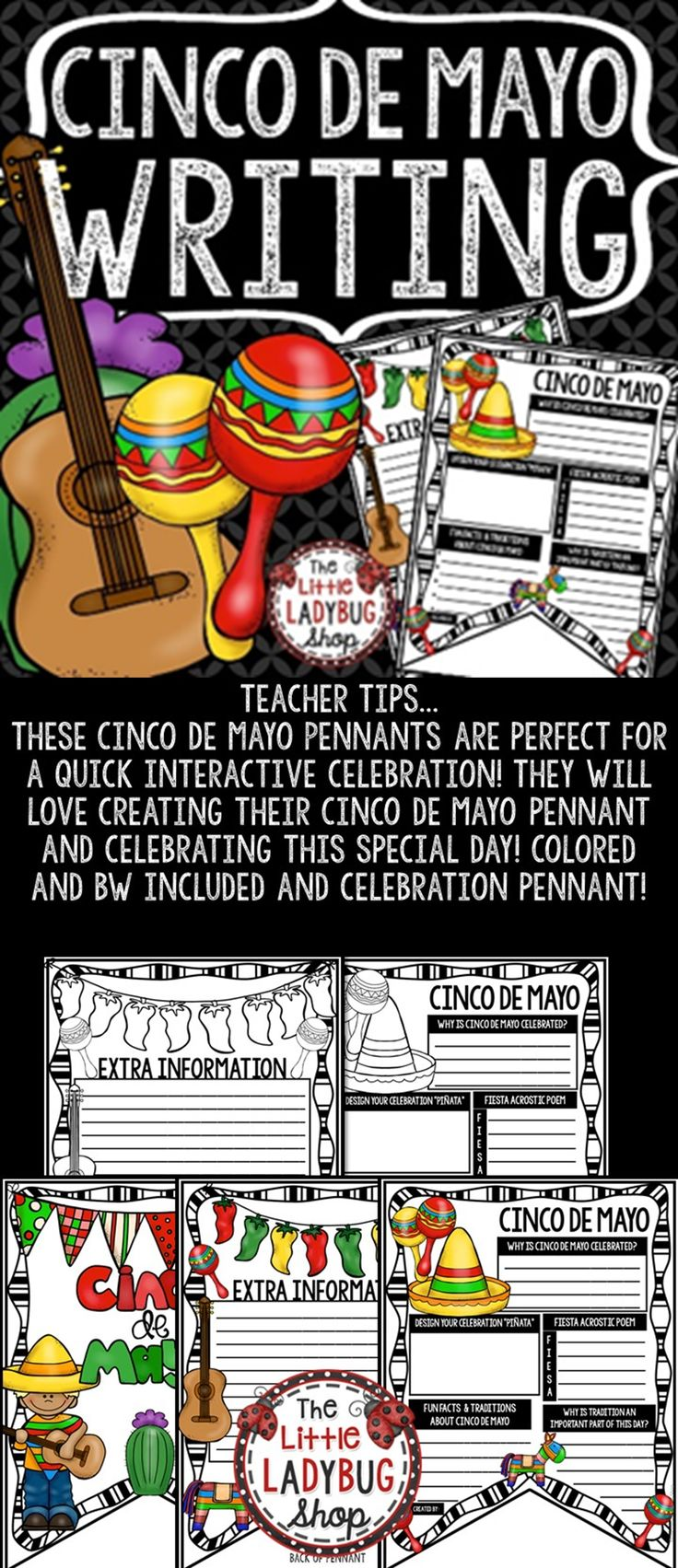 Cinco de Mayo Pennants Print & Go with these Pennants! These Cinco de Mayo Pennants are perfect for a quick interactive celebration with your students! Colored and BW included and celebration Cinco de Mayo Bulletin Board Pennant