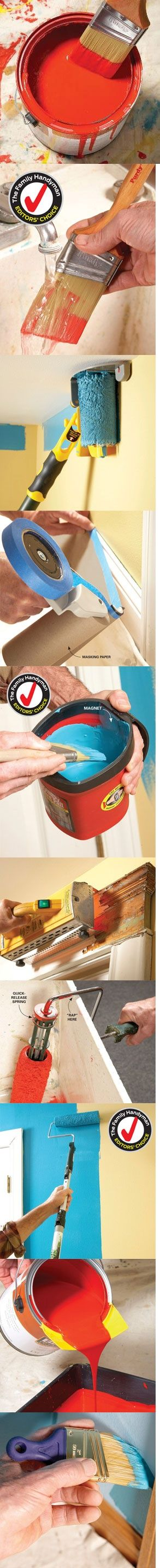 #inspiration #design #color  #homedecoration #decor Experts list the best tools for painting—including brushes, rollers, paint removers, masking tools, cleaning tools, pouring spouts, poles, ladders and more. Find must have tools to make your next painting job easier, faster and better at http://www.familyhandyman.com/DIY-Projects/Painting/Painting-Tools/best-diy-painting-tools/View-All