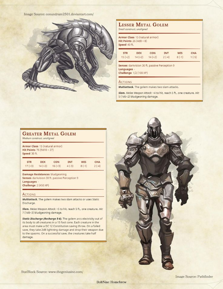 110 best images about D&D Monsters: Constructs on ...