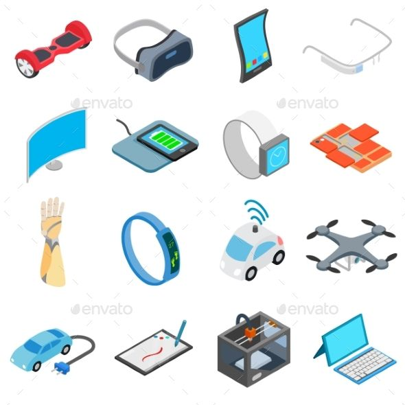 New technology icons set in isometric 3d style isolated on white