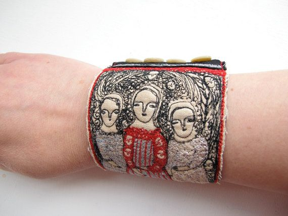 How lovely would this be to wear -- you would be only person around to have this... and it tells a story.  I love that. === machine stitched cuff!