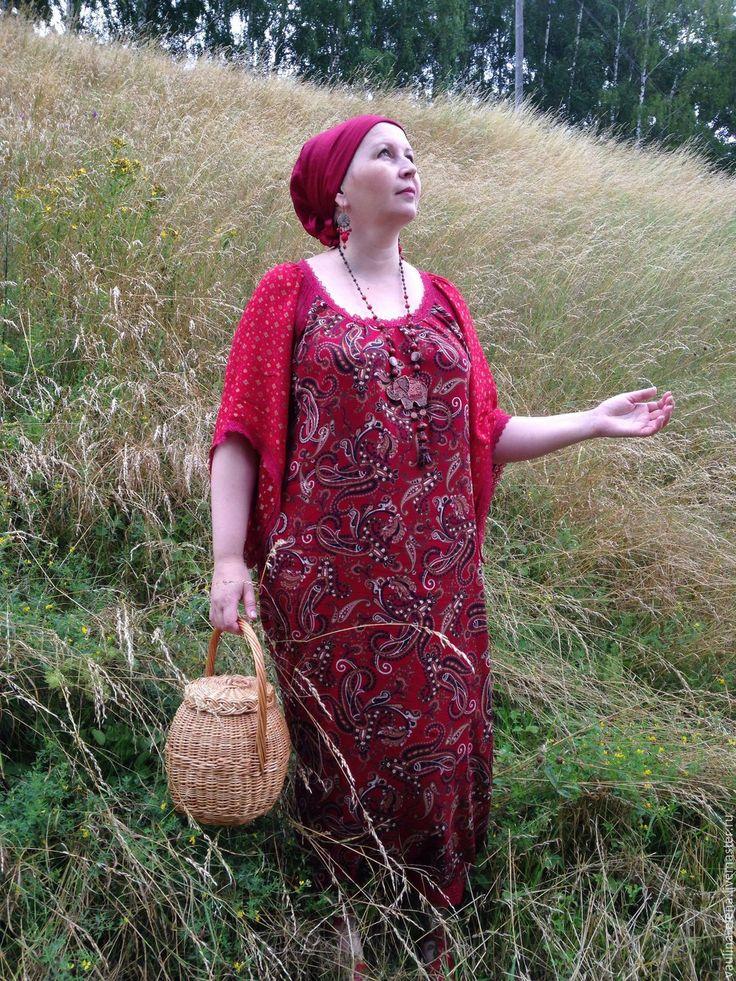 """Купить Штапельное летнее платье """"Ладушка"""" - бордовый, пейсли, платье летнее…"""