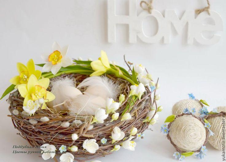 Купить Пасхальное гнездо с цветами - Пасха, гнездо пасхальное, подарок на Пасху, сувенир пасхальный, разноцветный
