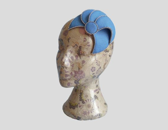 Wedgewood blue & Silver Fascinator Zip and Felt by RosalieFrench