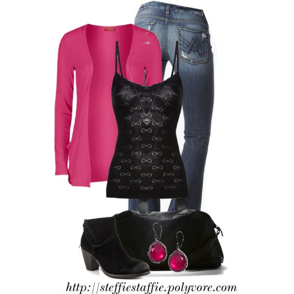 """Hot Pink Cardigan & Bow Cami"" by steffiestaffie on Polyvore"