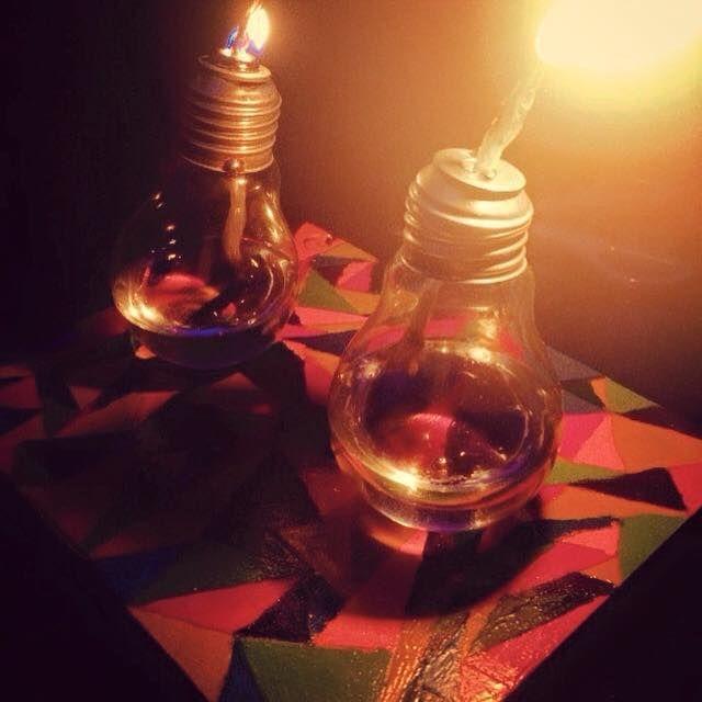 Repurposed lamp globe oil burner - https://www.facebook.com/RestoredbyGil