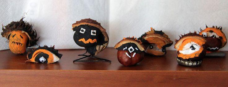 Kastanienzeit ist auch Bastelzeit; da lassen sich wieder gruselig-schöne Kastanienmännchen für Halloween gestalten! Hier die Anleitung für die neuen Männchen...: http://www.halloween-feiern.de/tag/kinder-basteln/