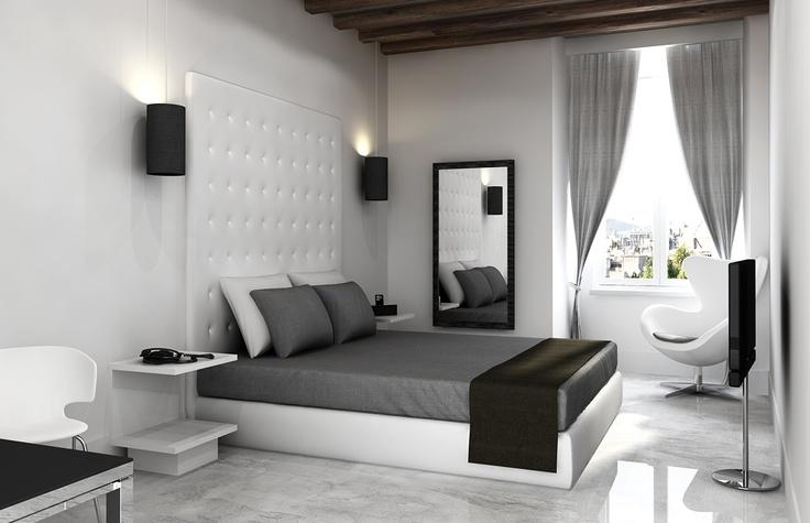Hotel Bedroom Design in Rome. Rendering