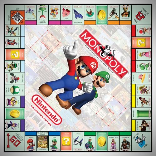 Nintendo Monopoly. Dive into the world of NES with iconic characters like Mario, Donkey Kong, Zelda, Metroid, Kirby, Star Fox, and Wario. The player tokens include Mushroom, Star, Master Sword, Samus' Helmet, Pikmin's Rocket, and Gyroid. You can pick up this limited edition Nintendo Monopoly now at Amazon.