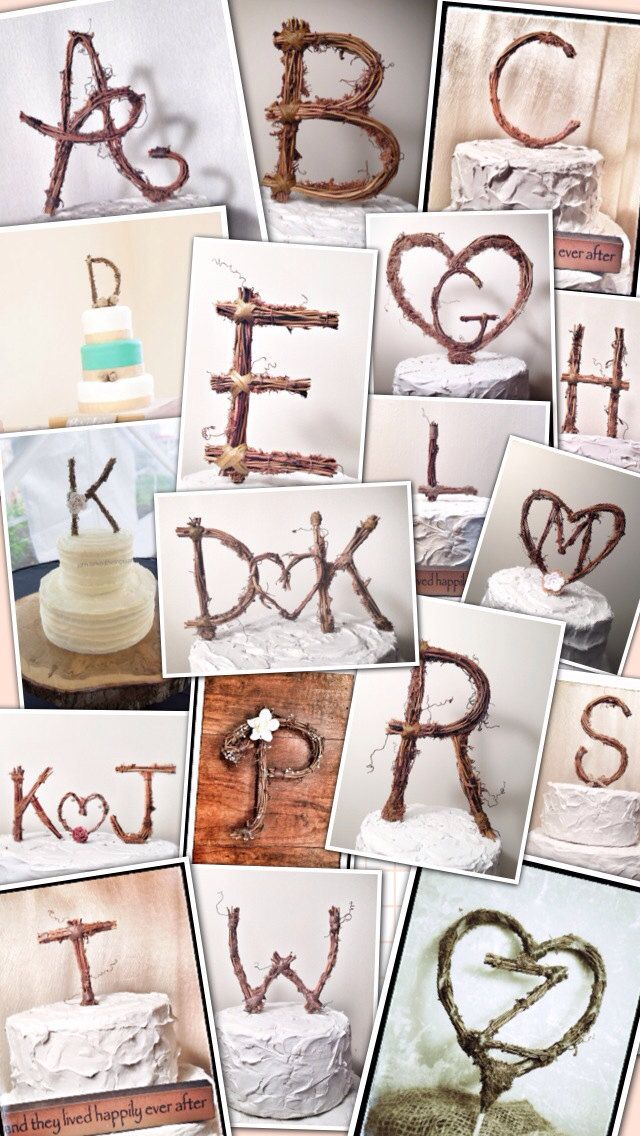 Rustic Twig Monogram Letter Wedding Cake Topper by TheOriginalTwig, $34.00