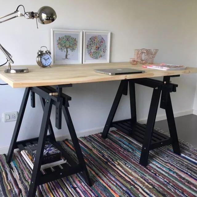 Mejores 13 im genes de escritorios en pinterest - Mesa con caballetes ...