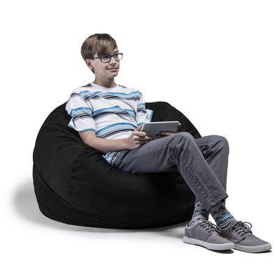 Kids Bean Bag Chair Upholstery: Black - http://delanico.com/bean-bag-chairs/kids-bean-bag-chair-upholstery-black-640275947/