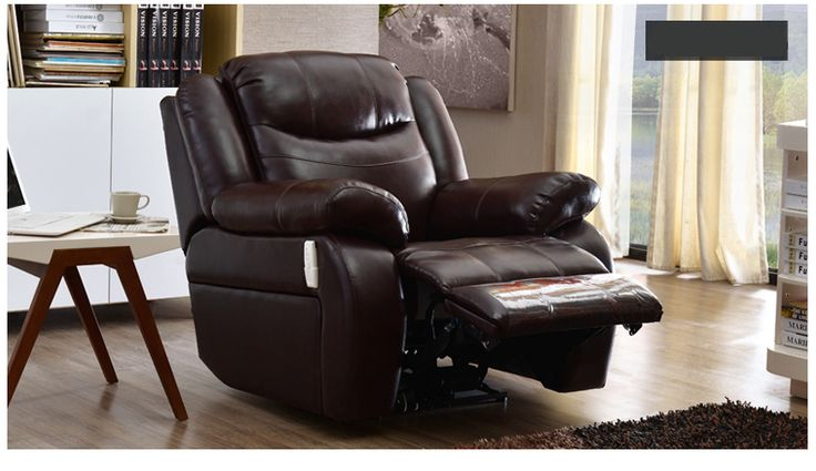 Черное кожаное кресло с выдвижной подставкой для ног и мягкой набивкой с большими подлокотниками купить в интернет-магазине https://lafred.ru/catalog/catalog/detail/43882959599/