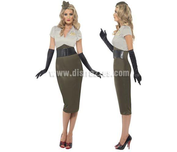 Disfraz de Pin Up Picante 2ª GM para Mujer talla L 40/42. Disfraz Único y de Alta Calidad de Mujer Soldado o Militar del ejército de la Segu...