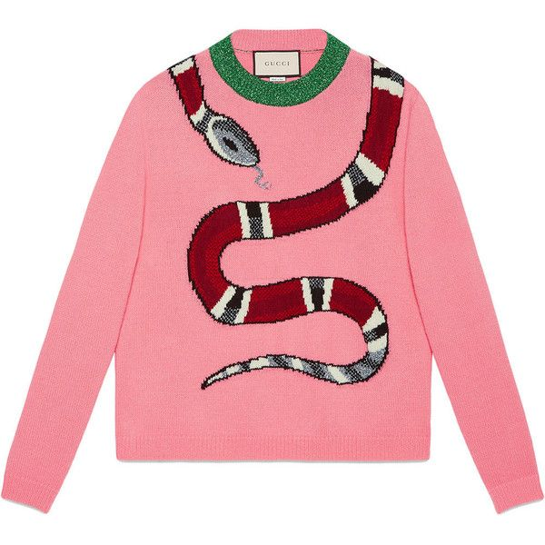Gucci Kingsnake wool knit sweater ($1,425) ❤ liked on Polyvore featuring tops, sweaters, wool crew neck sweaters, pink knit sweater, wool knit sweater, red top and pink wool sweater