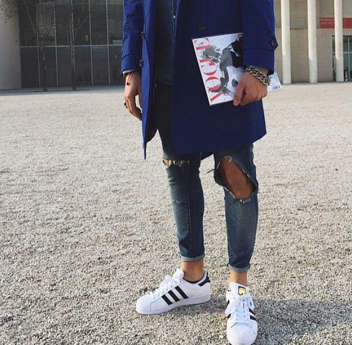 Adidas Superstars go with everything.