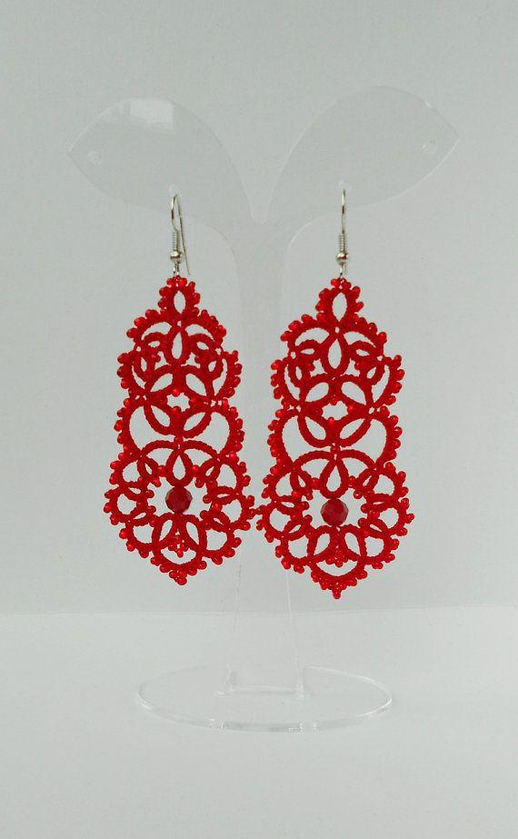Tatted earrings , red earrings,long earrings, red lace earrings, dangle earrings, statement earrings, handmade, tatting jewelry.