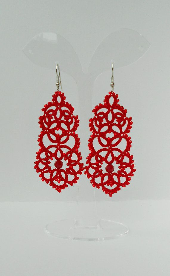 Elegant summer earrings tatted in red color with swarovski beads , Czech beads with original pattern, for everyday use, special occasion or as a perfect gift for romantic girl or woman. Total length of earring is 9.0 cm Hypoallergenic ear wire. Lightweight.   If you want different color or size, feel free to let me know and I will make it to order in 5-7 days.  If you have any questions, please contact me! Thank you for visiting my store