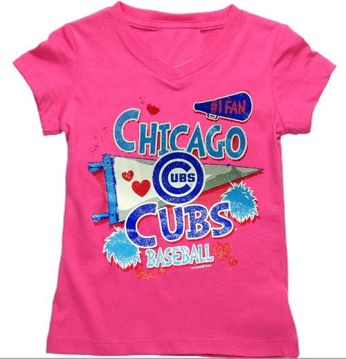 Chicago Cubs Pink Little Girls V-Neck Scrum Shirt $21.95  @Leslie Mallman Cubs