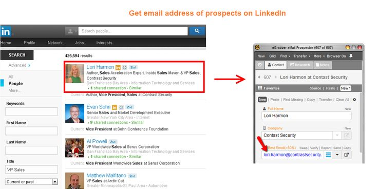 With eMail-Prospector you can get email address of any LinkedIn profile  Try this rapid email finder and find 50 business email address free:  http://www.egrabber.com/TU423FE97
