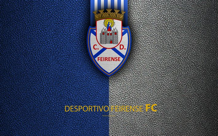 Download wallpapers Desportivo Feirense FC, 4K, leather texture, Liga NOS, Primeira Liga, emblem, logo, Santa Maria da Feira, Portugal, football, Portugal Football Championships