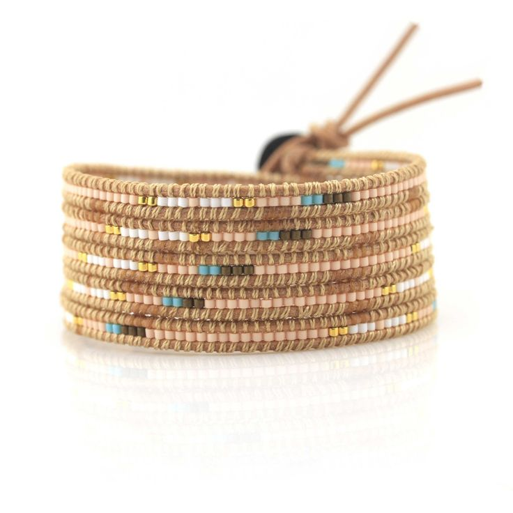 Peach, Turquoise and White Seed Beads on Natural - Wrap Bracelet