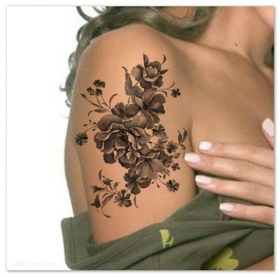 Temporäre Tattoo Schulter Blume extrem dünne realistische Wasserdicht Fake Tattoo